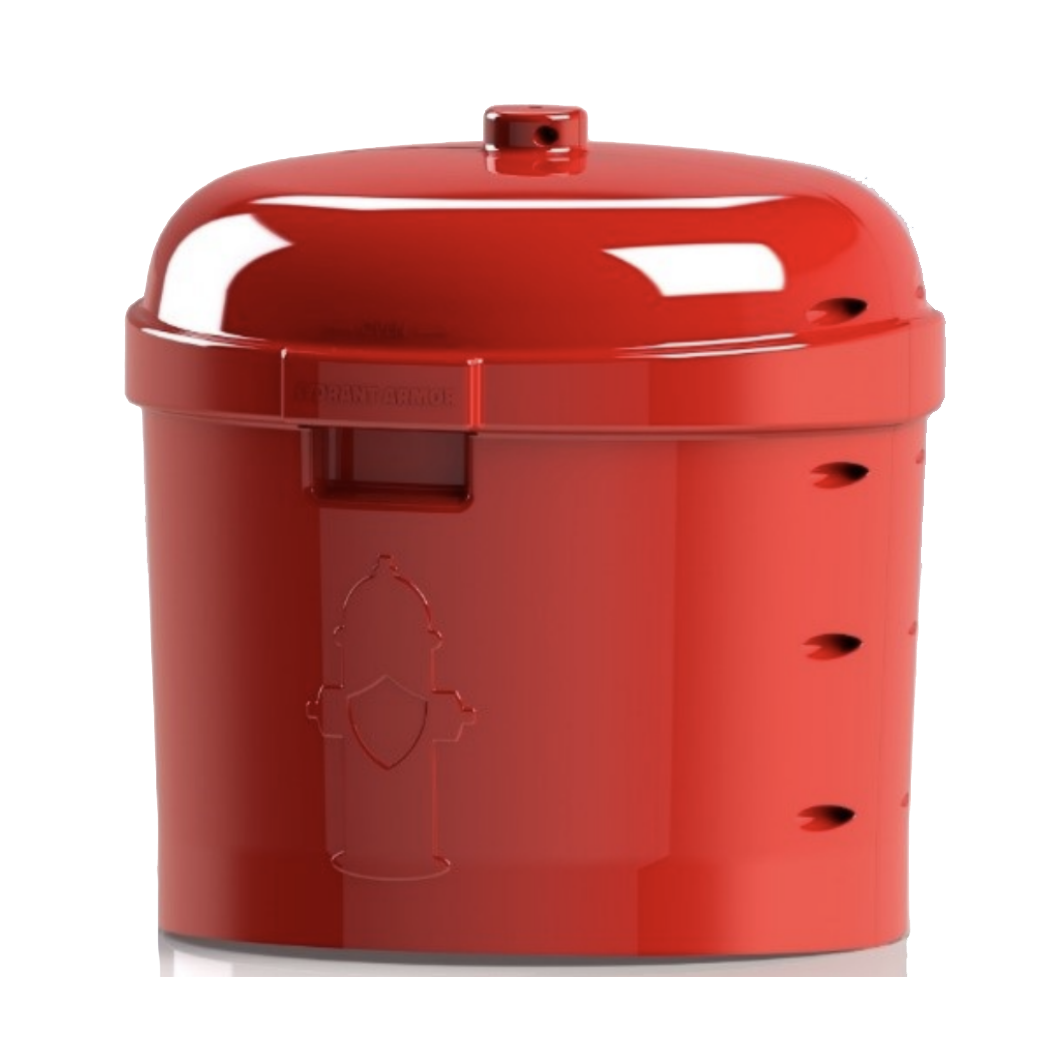 Here's a rendering of the enclosure. Excluded from this picture are the reflective decal that will be installed in the center of the image of the hydrant (look carefully for the shield), the reflective post that will extend from the top of the enclosure (to about 6 feet above ground level), and the integral bracket that holds the enclosure in place located inside the enclosure. The enclosure is 24 inches at its widest diameter and is 24 inches tall without the post.