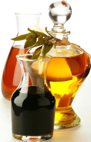 Olive oil, sesame oil and balsamic vinegar