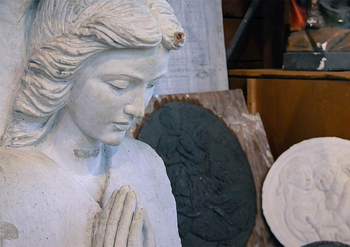 Detail of an angel - plaster mold at the Vermont Granite Museum in Barre, Vermont