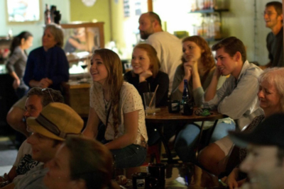 A crowd gathers for a comedy show at Espresso Bueno in Barre VT