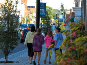 Family shopping in downtown Barre, VT.