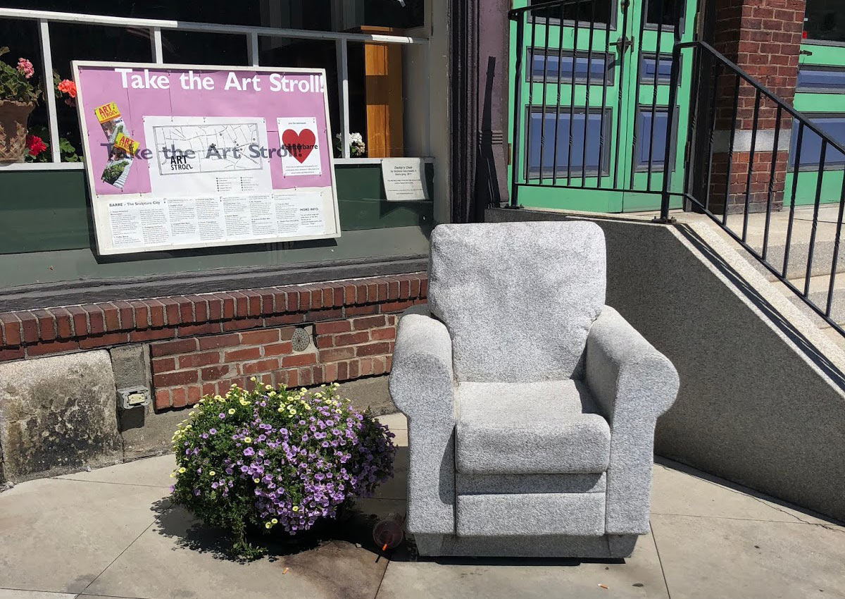 Have a seat in the granite armchair that sits outside Studio Place Arts in Barre, VT.