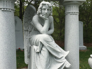 "The ""bored angel"" in Hope Cemetery"