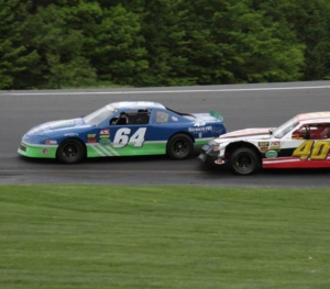 Late model racing at Thunder Road Speedbowl in Barre Vermont