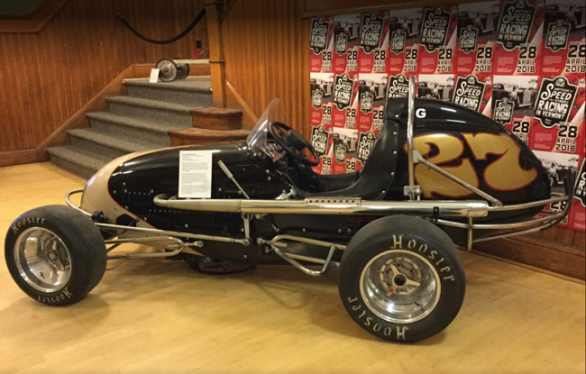 Antique race car on display at the History of Racing in Vermont exhibit at the Vermont History Center in Barre, VT