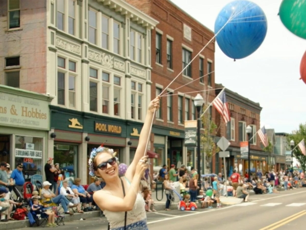 Balloons on parade at the Barre Heritage Festival.