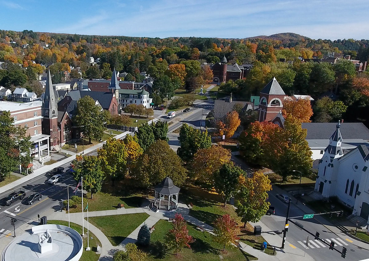 Bird's eye view of City Park in Barre, VT