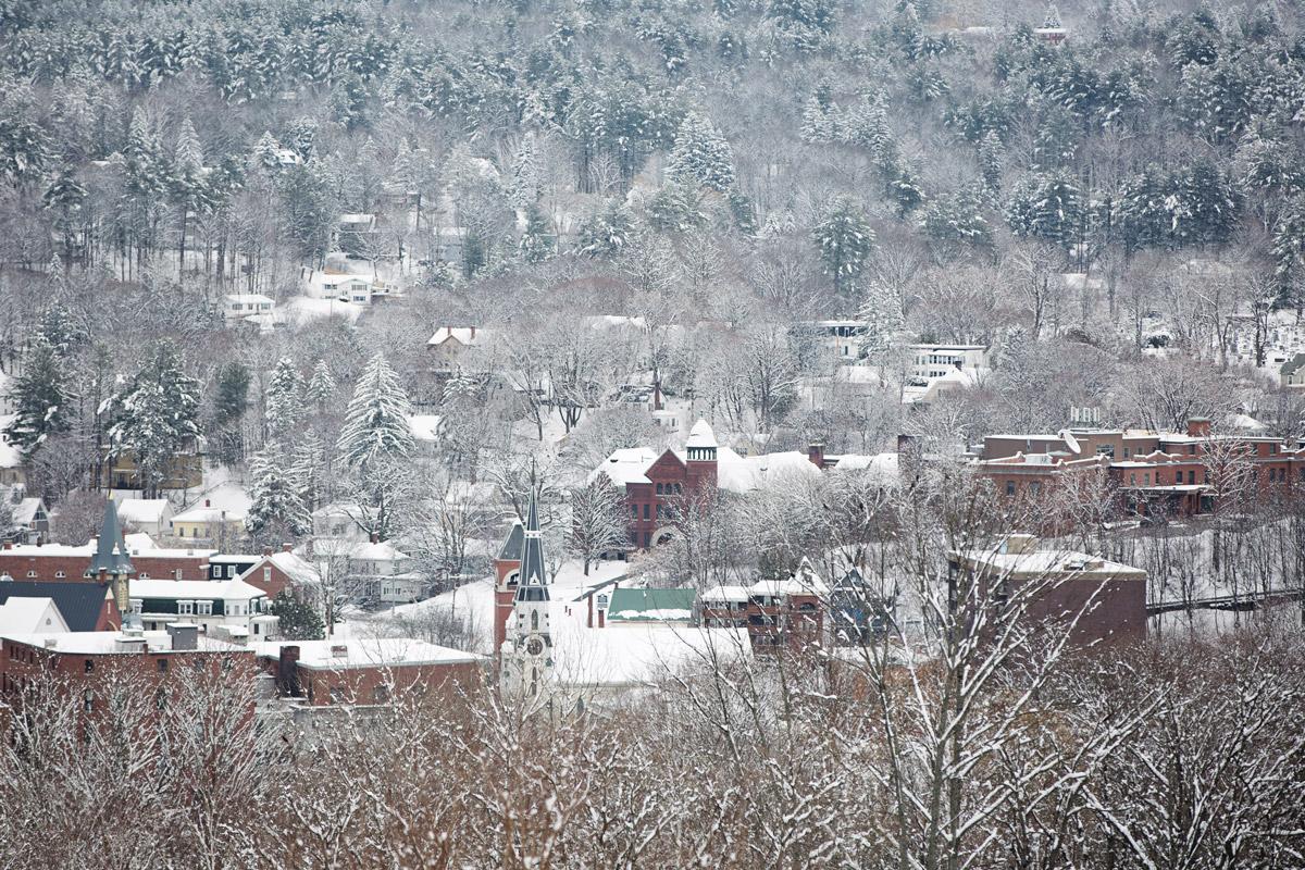 Barre Vermont after a light snowfall