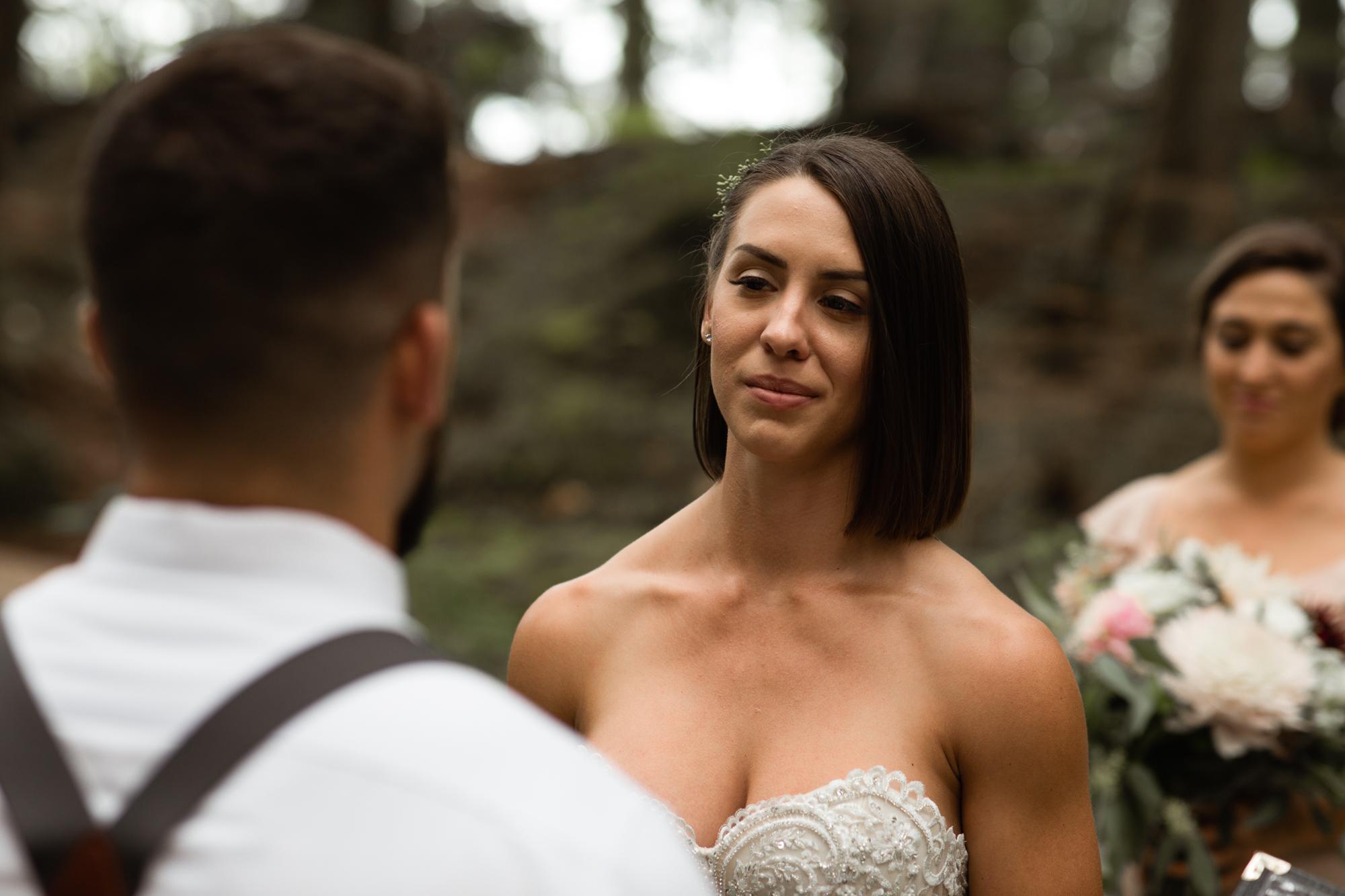 bride at elopement ceremony