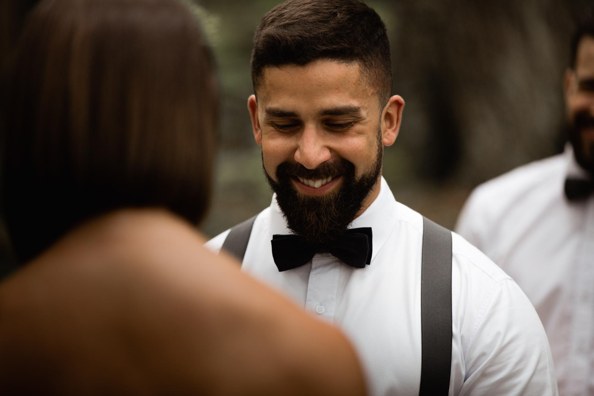 groom at elopement ceremony