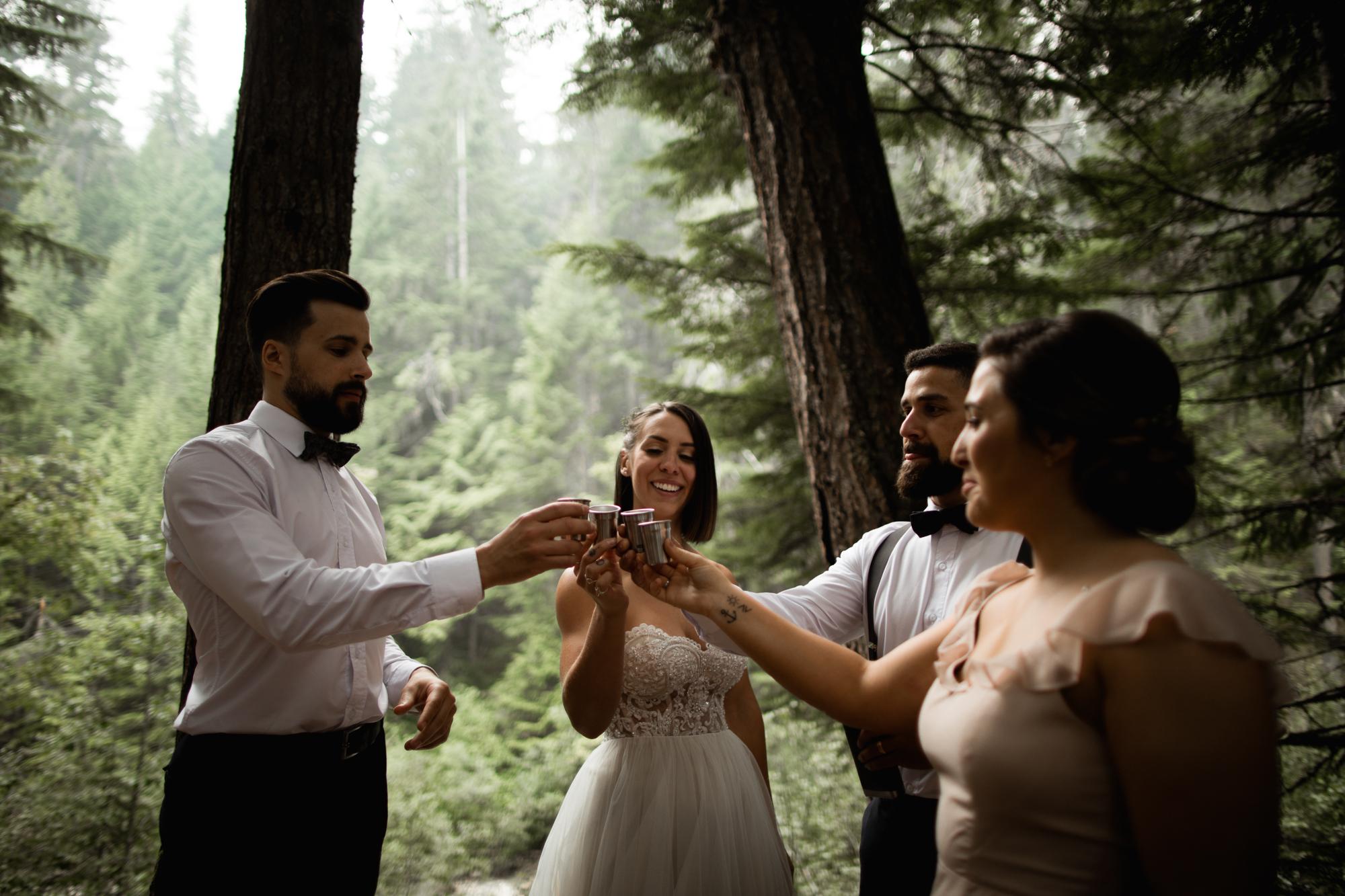 shots after elopement ceremony