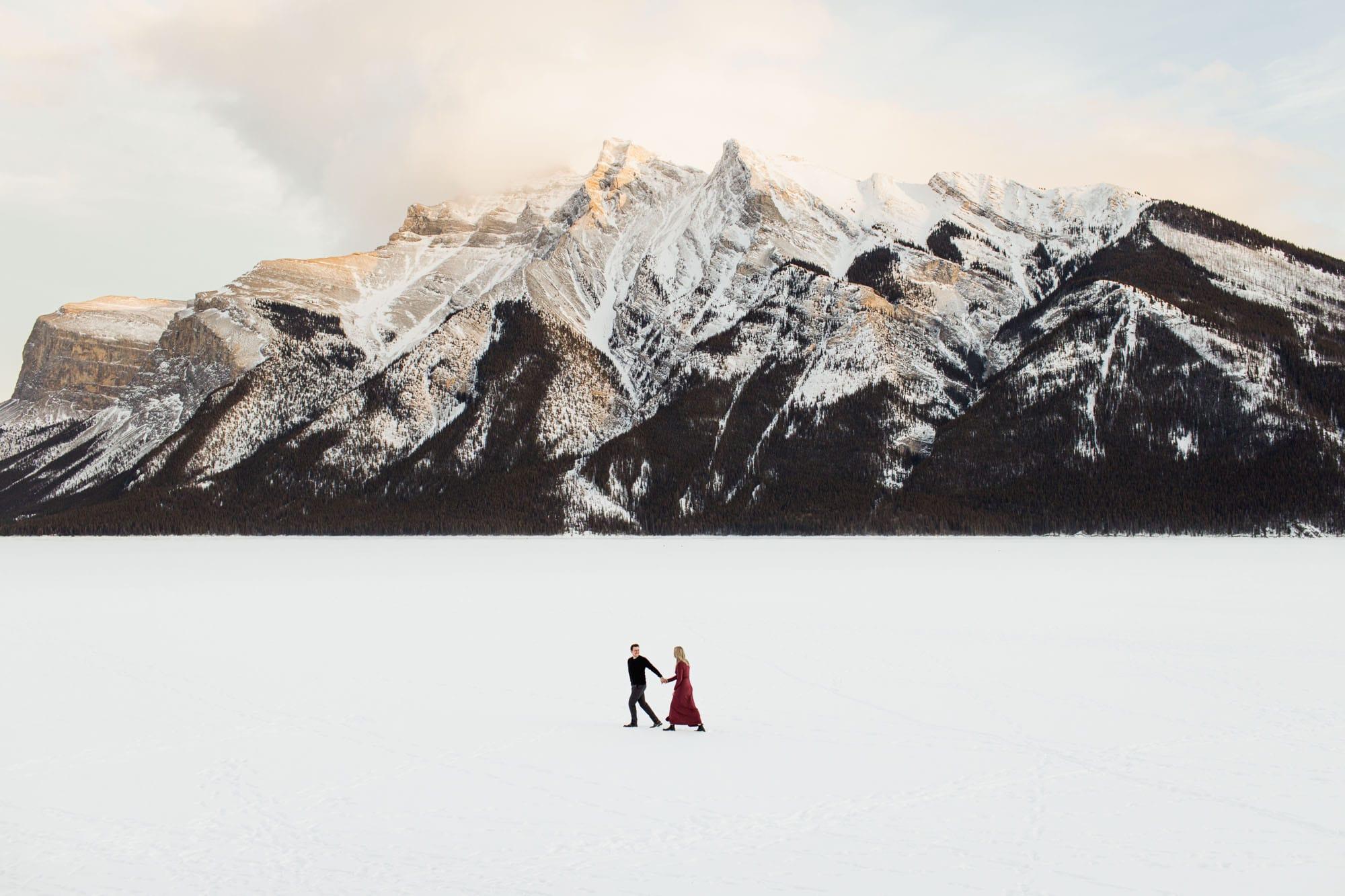 Lake Minnewanka winter Engagement Ideas