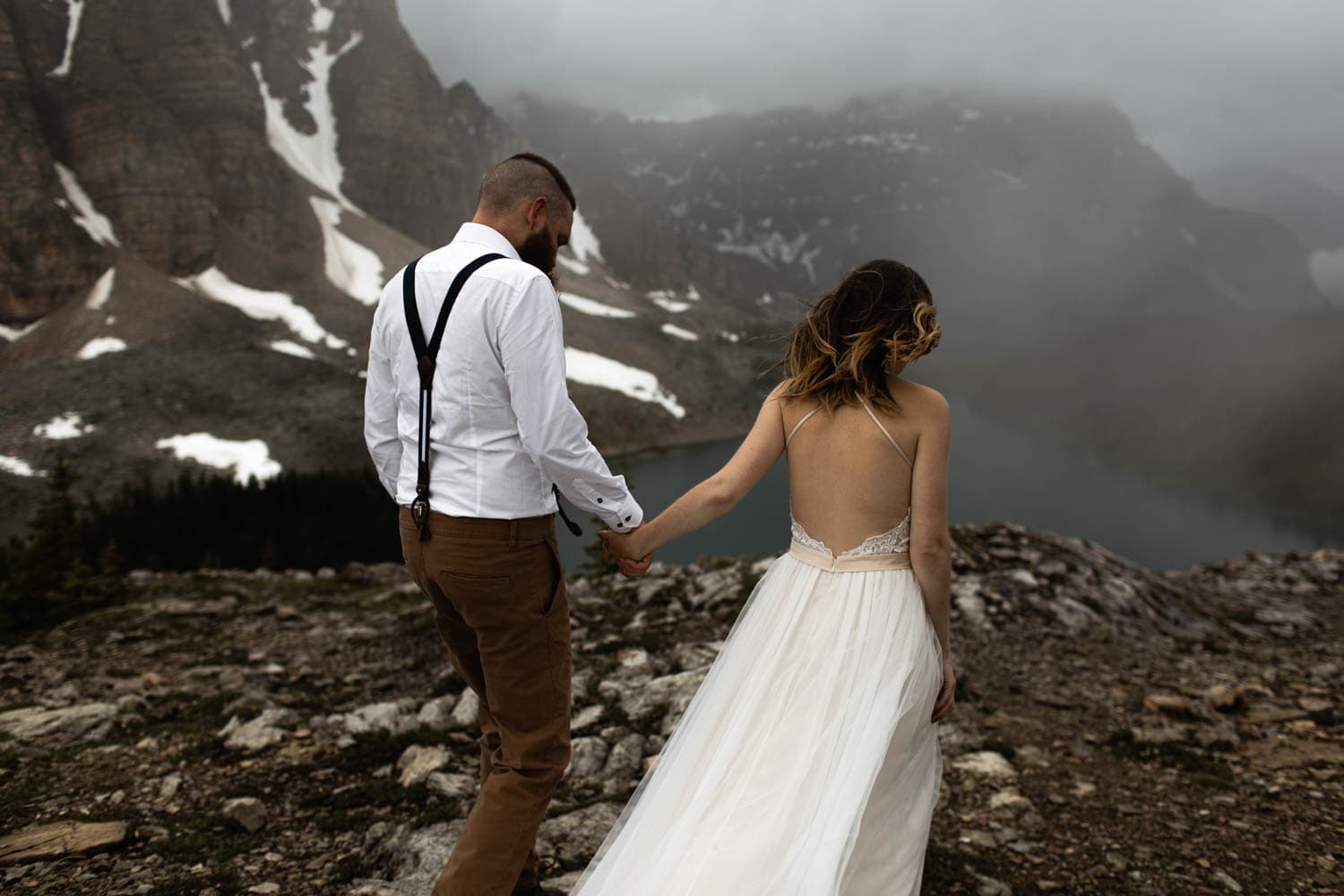 Bride and groom on top of Mountain