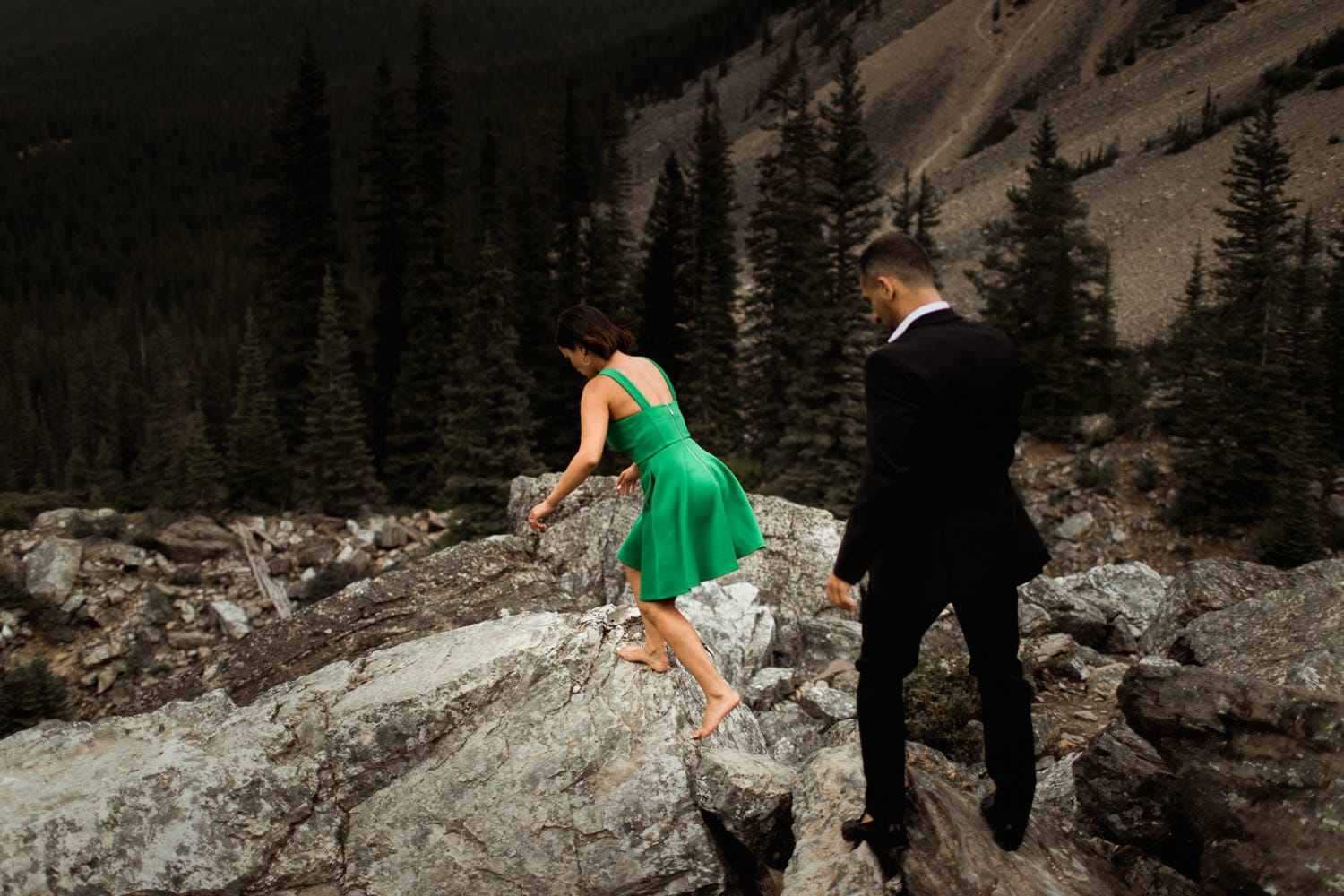 Wedding Couple Hiking