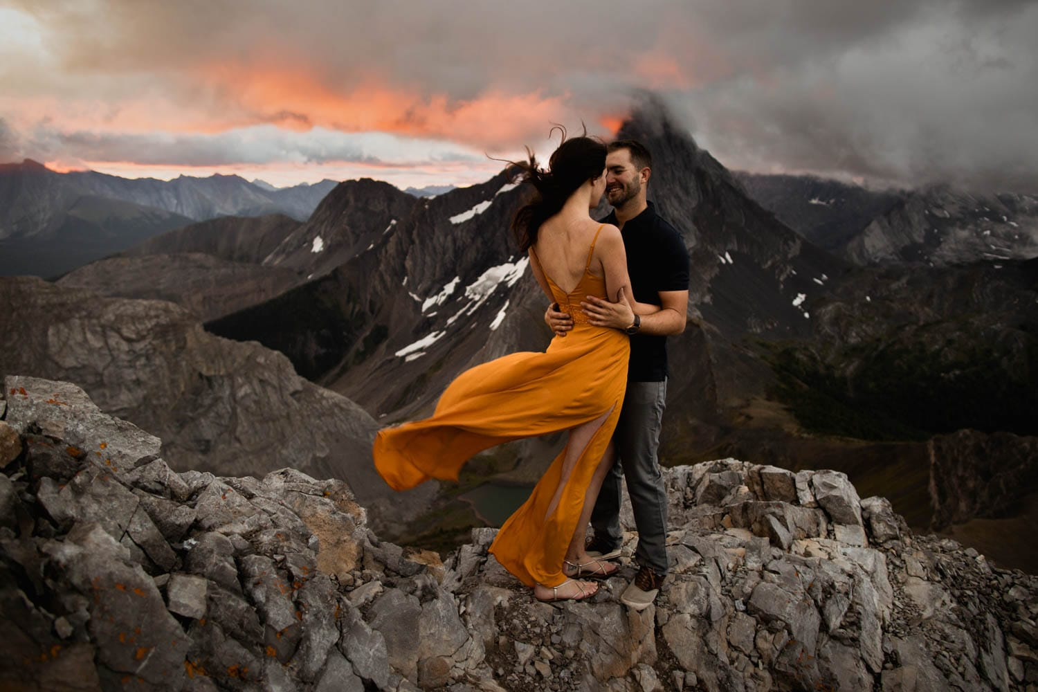 Kananaskis Mountain Top Sunrise Engagement