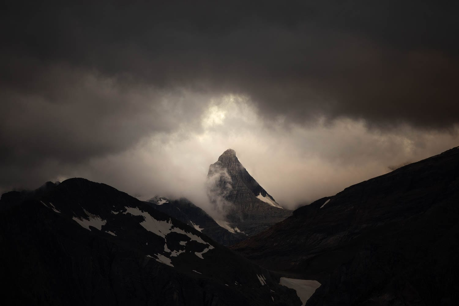 cloudy mountains at sunrise
