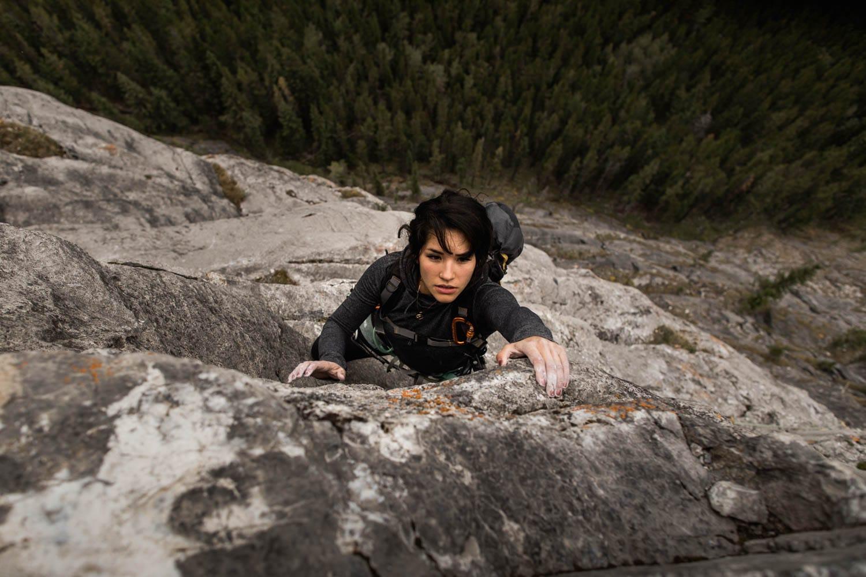 Bride lead climbing