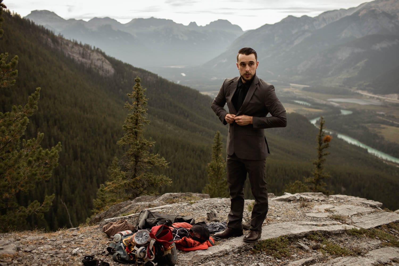 Groom getting ready in Banff