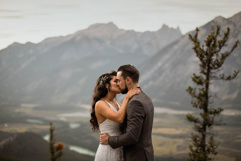 Banff Elopement first kiss