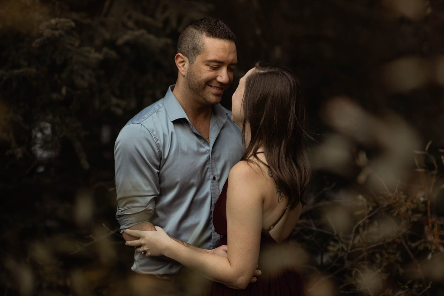 Couple portrait in forest