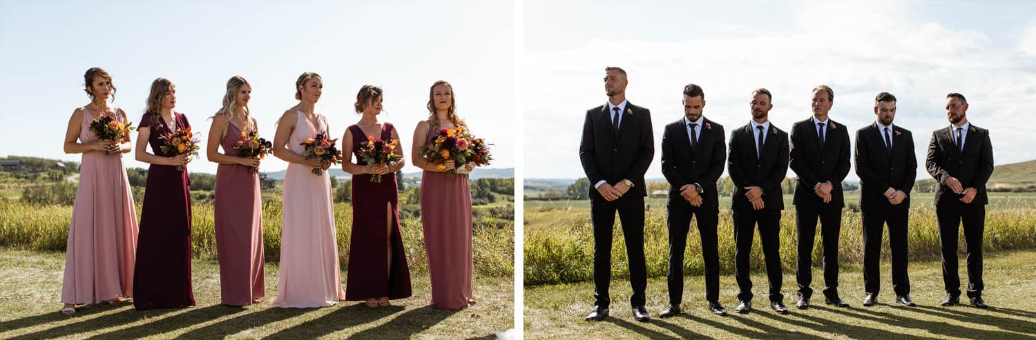 bridesmaids and groomsmen at wedding ceremony