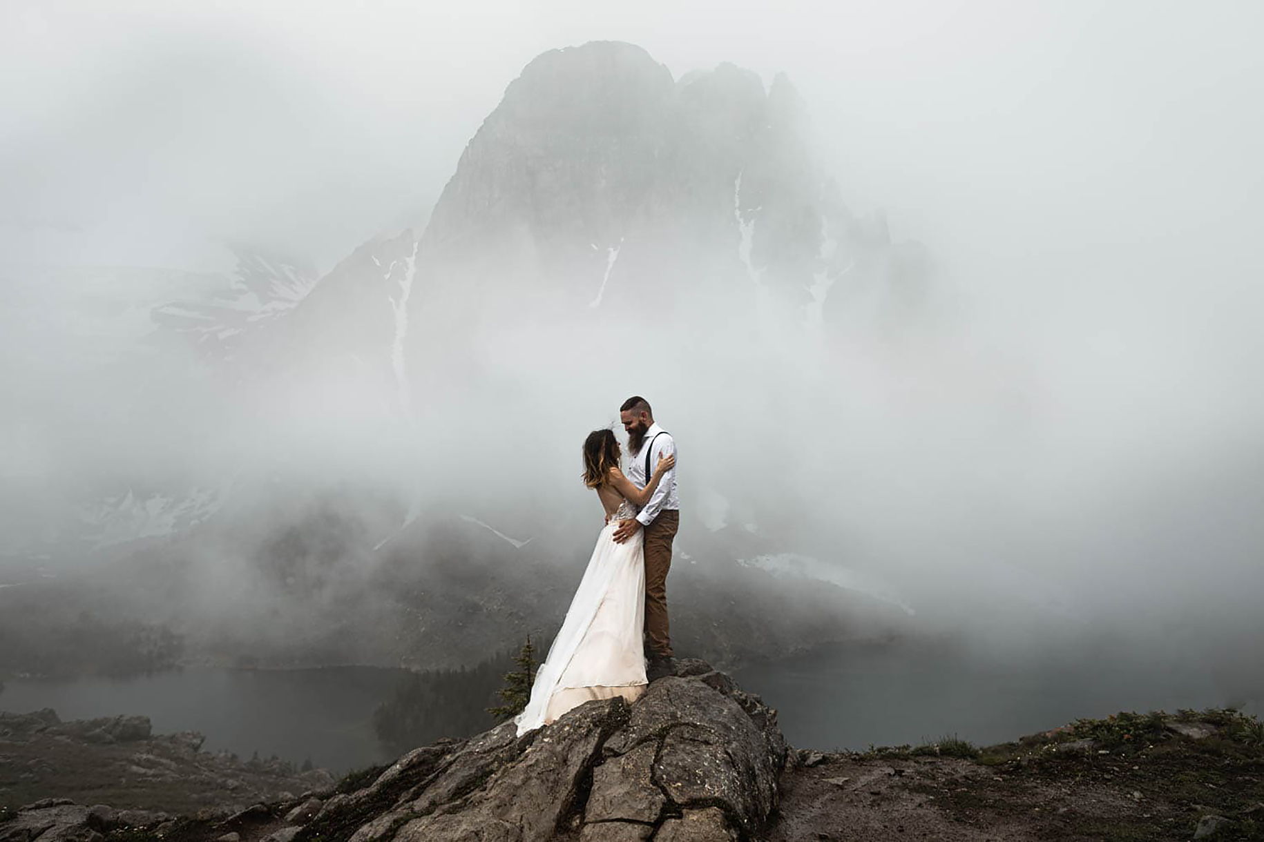 Backcountry heli Elopement Photographers