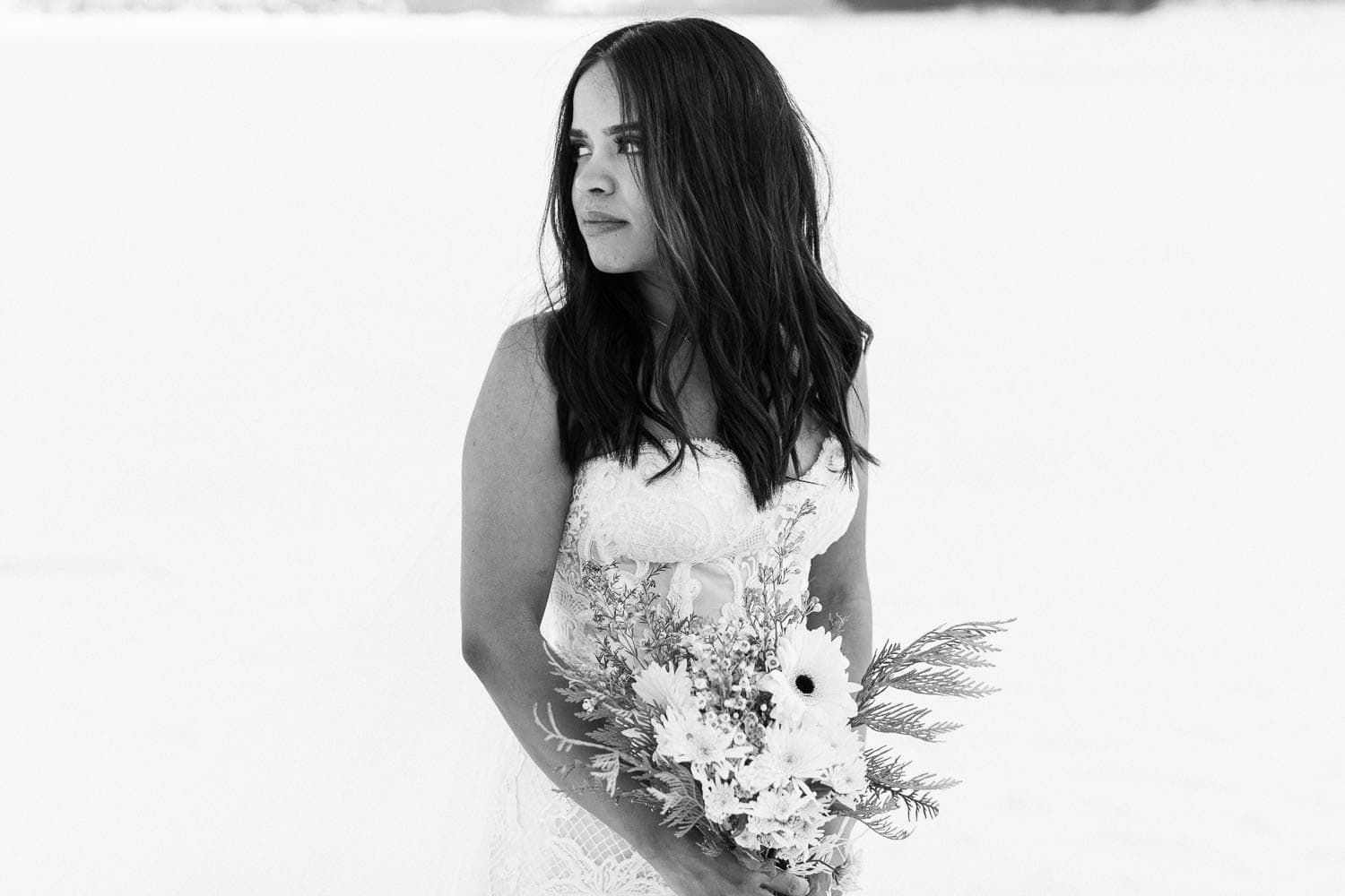 bride black and white winter wedding