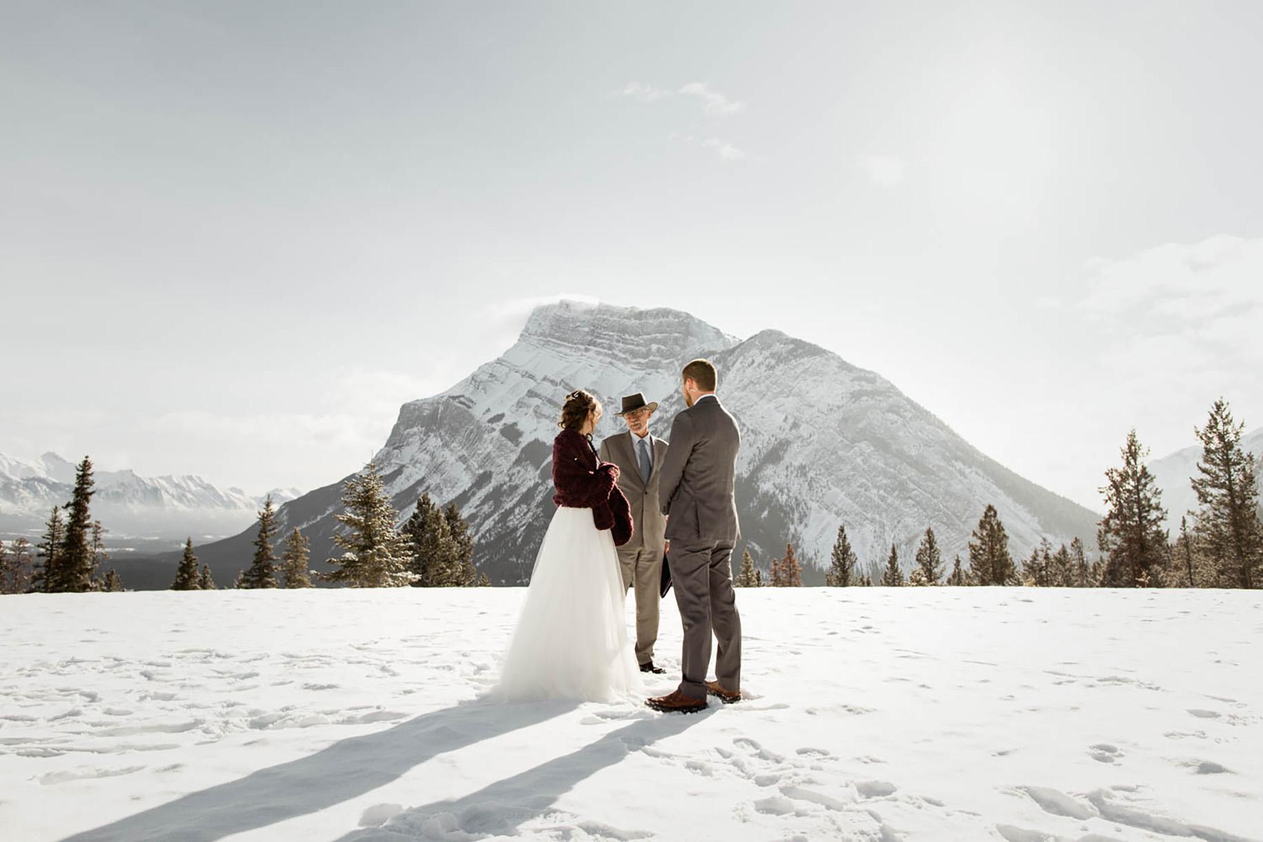 Banff Winter Elopement at Tunnel Mountain