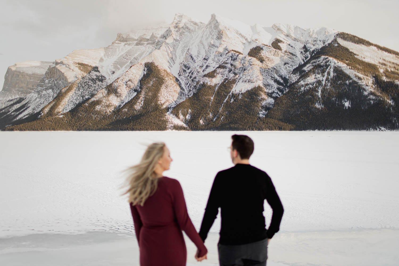 Lake Minnewanka Banff Winter Engagement Session