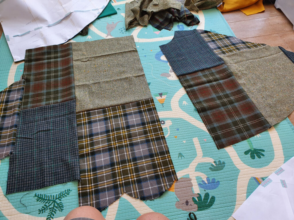 up-cycled wool fabric in green