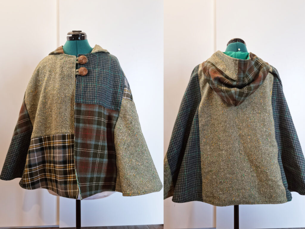 Green woolen upcycled cloak