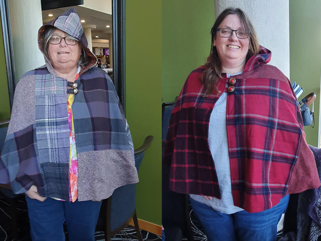 two woolen upcycled cloaks