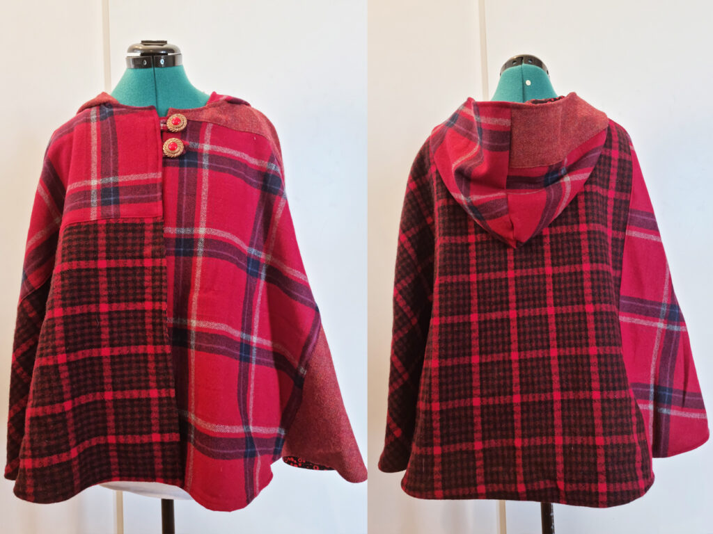 Red woolen upcycled cloak