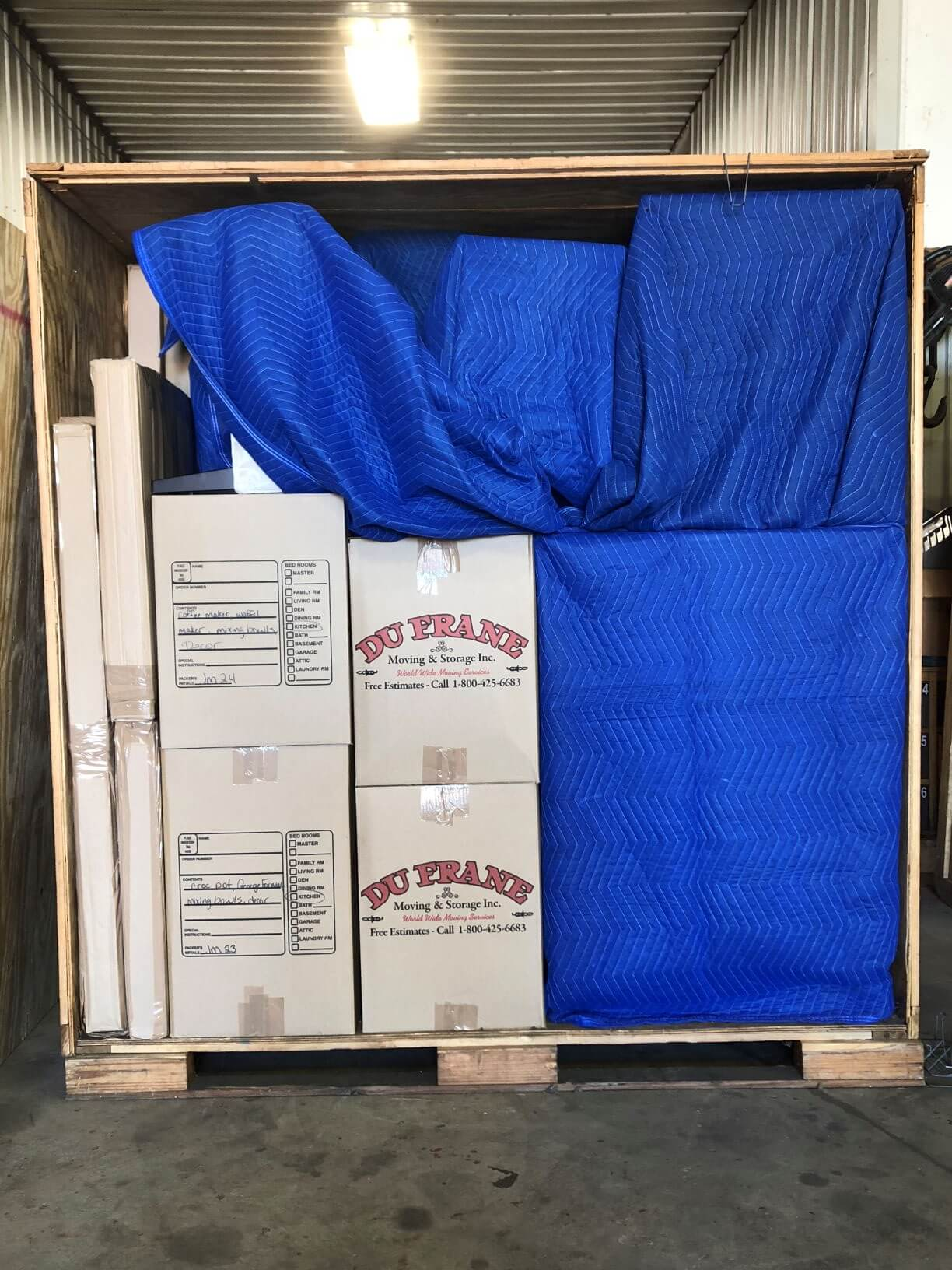 dufrane moving & storage: wooden crate vault for warehouse storage