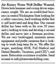 Air Rotary Water Well Driller Wanted
