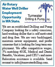 Air Rotary Water Well Driller Employment Opportunity in Washington State