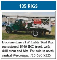 Bucyrus-Erie 21W Cable Tool Rig on Restored 1946 IHC Truck with Drill Stem and Bits for Sale
