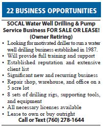 SOCAL Water Well Drilling and Pump Service Business for Sale or Lease