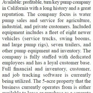 Pump Business for Sale in California