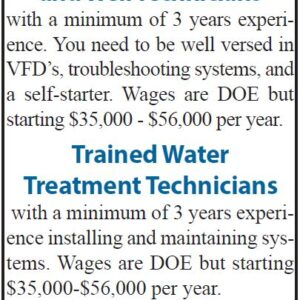 Cascade Water Systems Seeks Following Positions