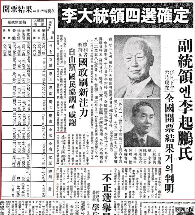 A Dong-a Ilbo article reporting on the March 15 election results with President Lee Syngman and Vice President Lee Ki-Poong as the victors. Published on March 17, 1960. (Image Source: 동아일보)