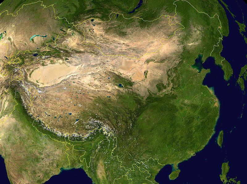 Topografía de China en una imagen de satélite.