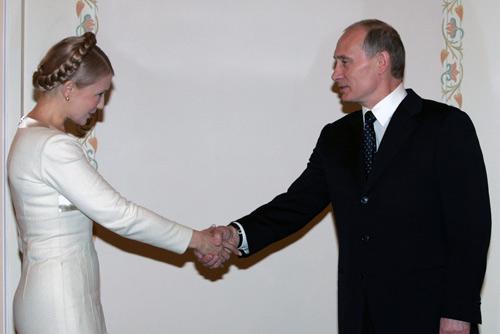 La ex Presidenta Yuliya Tymoshenko en una reunión con el Presidente Vladimir Putin (20 de febrero de 2008).