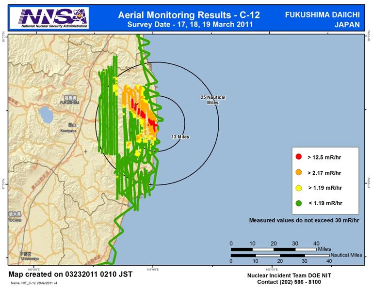 Niveles de radiación en Fukushima detectados por la NNSA el 22 de marzo de 2011.