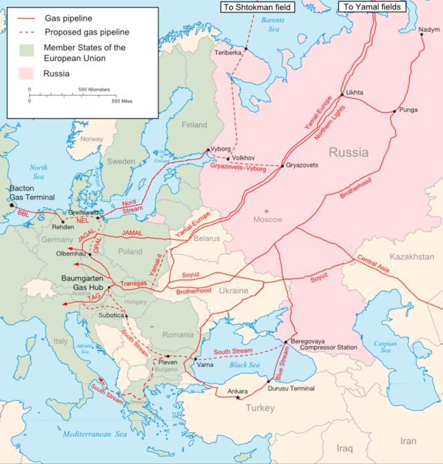 Mapa general de los gasoductos que unen Rusia con la Unión Europea