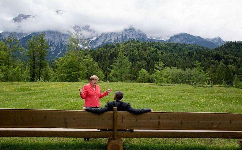 El presidente Barack Obama y la Canciller Angela Merkel en G7 Cumbre en Alemania
