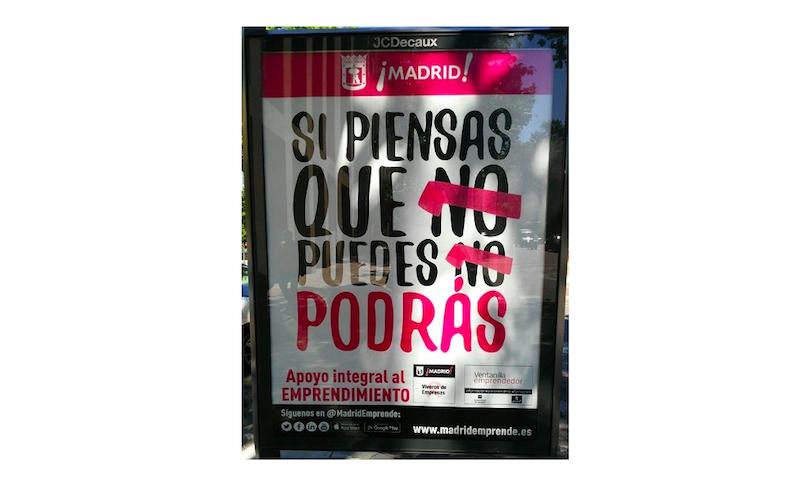 Retirada la campaña de publicidad sobre emprendimiento y sanción para Manuela Carmena