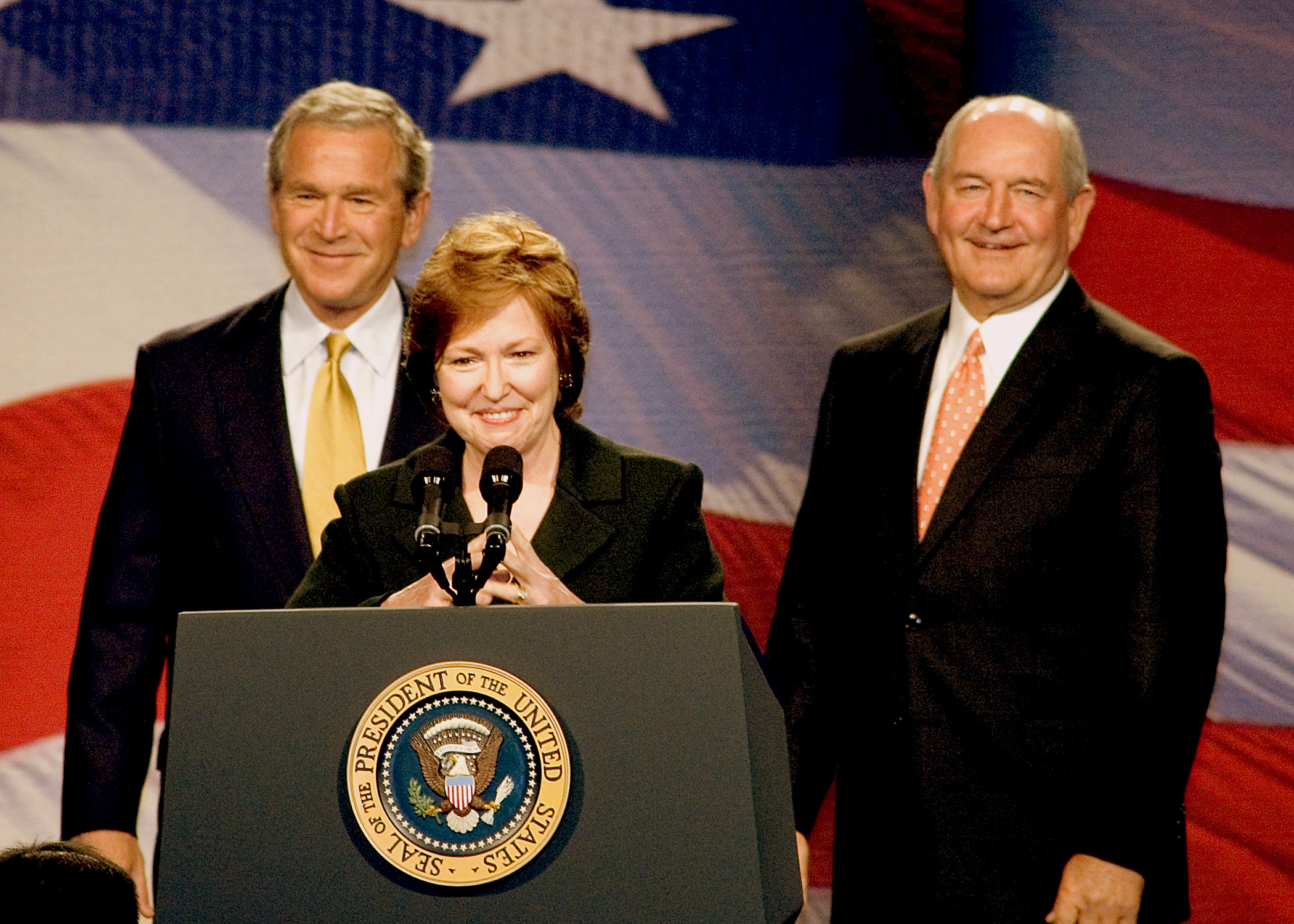Times change: In 2006, Foundation Board Chairman Brenda Fitzgerald and Gov. Sonny Perdue welcomed President Bush at an event hosted by the Foundation in Cobb County. Today, Fitzgerald is the new CDC director and Perdue is U.S. Secretary of Agriculture!