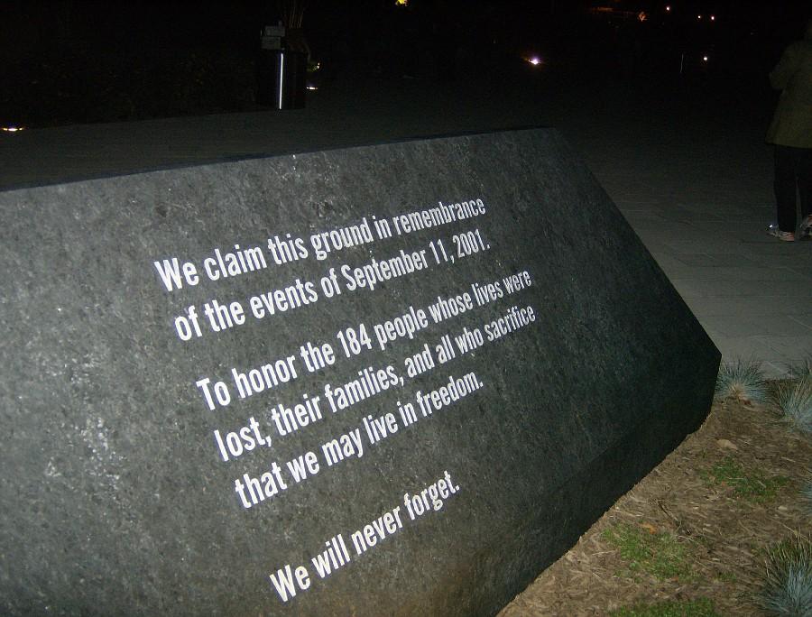 A memorial at the Pentagon commemorates the September 11, 2001 terrorist attack.