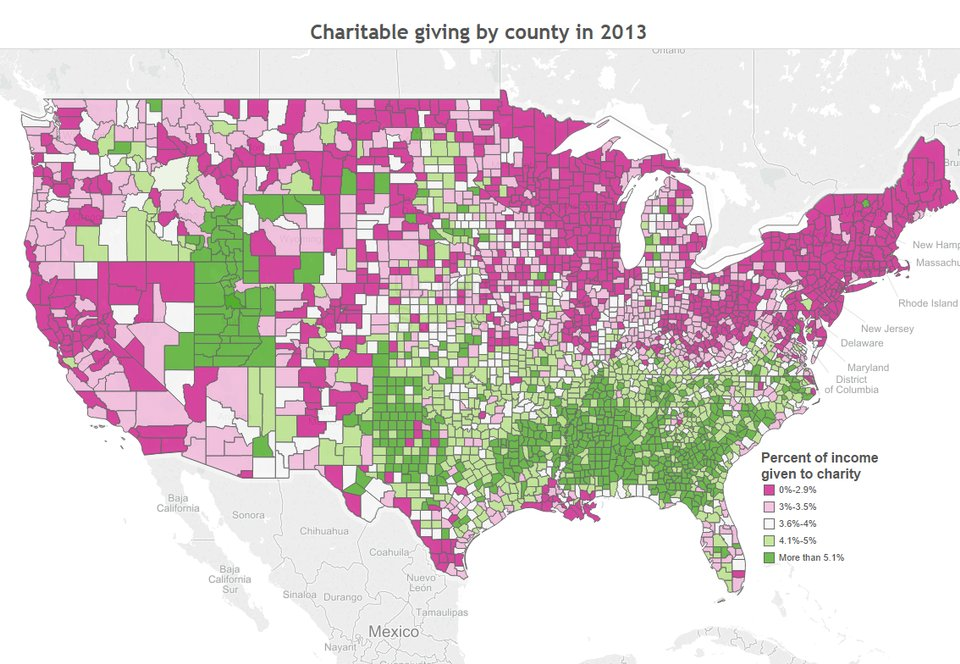 Interesting to see what parts of the country are more charitable.